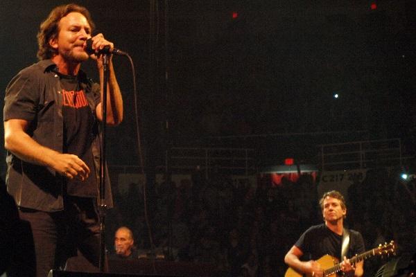 Pearl Jam frontman Eddie Vedder performing live at Joe Louis Arena in Detroit.