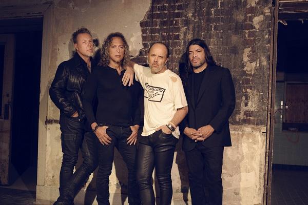 Metallica press image featuring (from left to right) James Hetfield, Kirk Hammett, Lars Ulrich and Robert Trujilo.