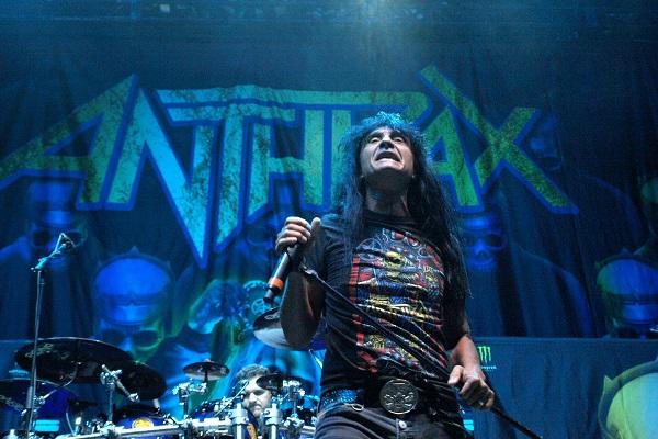 Anthrax's Joey Belladonna performing live at Van Andel Arena in Grand Rapids, Michigan.