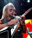 Judas Priest guitarist Richie Faulkner performing at Freedom Hill near Detroit, Michigan.
