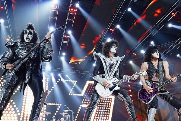 Kiss performing at Little Caesars Arena in Detroit, Michigan.