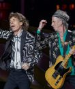 Mick Jagger and Keith Richards of the Rolling Stones performing live at Comerica Park in Detroit, Michigan.