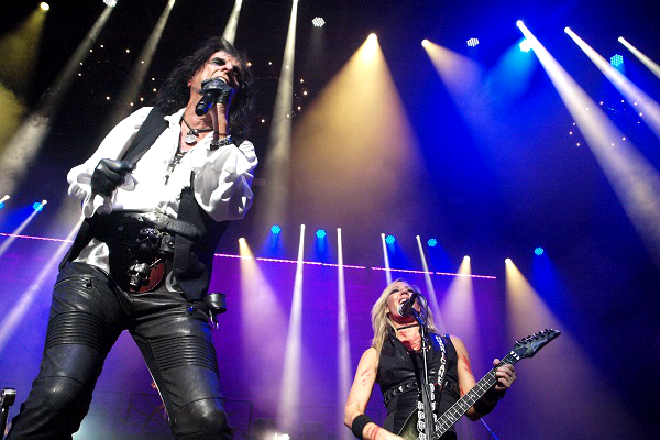 Alice Cooper and Nita Strauss performing live at DTE Energy Music Theatre near Detroit.