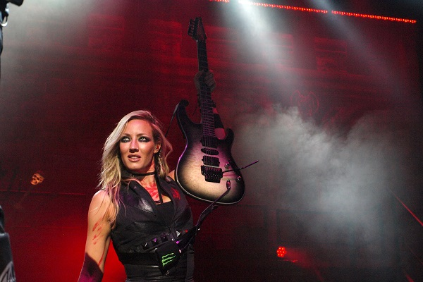 Alice Cooper guitarist Nita Strauss at DTE Energy Music Theatre.