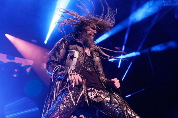Rob Zombie swinging his dreadlocks during a show at DTE Energy Music Theatre.