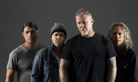 Metallica promo photos, featuring James Hetfield, Kirk Hammett, Lars Ulrich and Robert Trujillo, dressed in black and gray.
