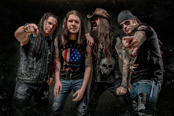 Saliva's current lineup, including Bobby Amaru on vocals, Wayne Swinny on guitar, Paul Crosby on drums and Brad Stewart on bass.