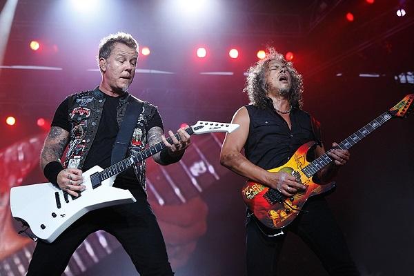 Metallica performing in Detroit, Michigan.