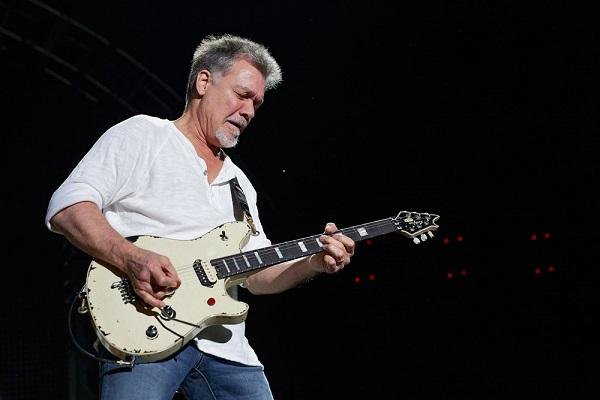 Eddie Van Halen performing live at DTE Energy Music Theatre in Clarkston, Michigan.