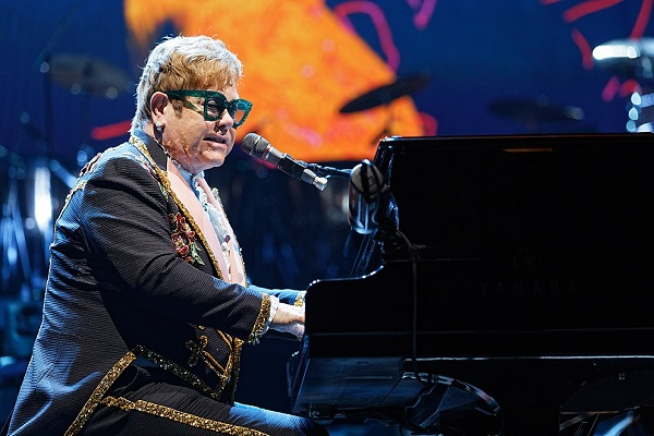 Elton John performing live at Joe Louis Arena in Detroit.