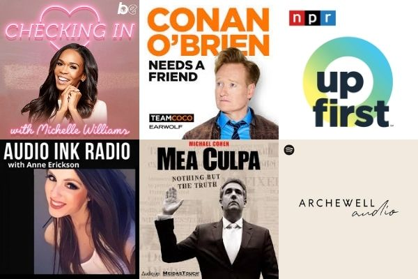 """Audio Ink Radio's best podcasts (pictured) include """"Archwell Audio,"""" """"Checking in with Michelle Williams,"""" """"Conan O'Brien Needs A Friend,"""" """"NRP's Up First,"""" """"Mea Culpa with Michael Cohen"""" and """"Audio Ink Radio with Anne Erickson."""""""