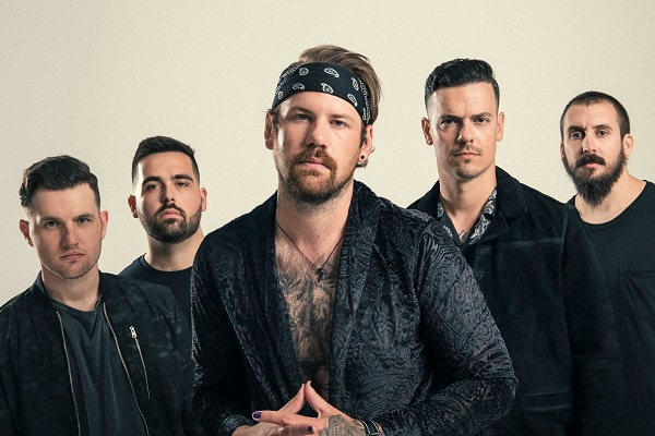 Beartooth promo photo, featuring Caleb Shomo, Zach Huston, Will Deely, Oshie Bichar and Connor Denis.