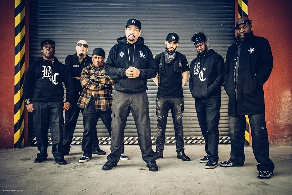 Body Count press photo, featuring Ice T (vocals), Ernie C. (guitar/backing vocals), Juan Garcia (guitar/backing vocals), Vincent Price (bass/backing vocals), Ill Will (drums) and Sean E. Sean (samples/backing vocals).