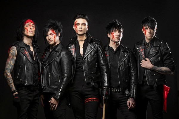 Black Veil Brides, from left to right: Christian Coma (drums), Jinxx (guitars), Andy Biersack (vocals), Jake Pitts (guitars) and Lonny Eagleton (bass).