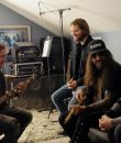Nu-metal band Saliva in the studio working on new music.