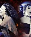 Amy Lee of Evanescence and Lzzy Hale of Halestorm performing live.