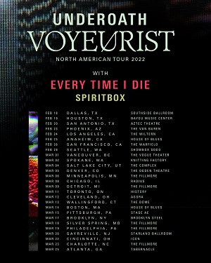 Underoath, Every Time I Die and Spiritbox 2022 tour poster.