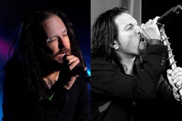 Korn's Jonathan Davis, Pop Evil's Leigh Kakaty performing live.