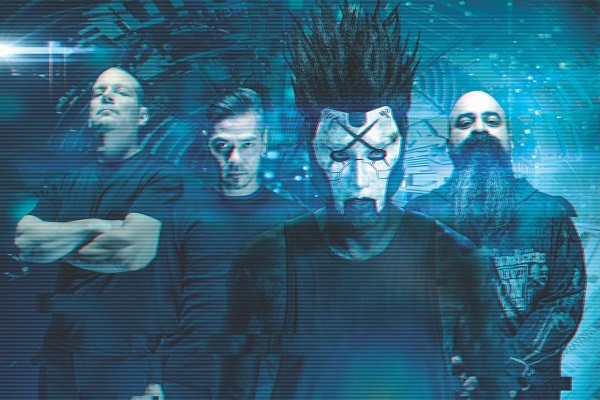 Static-X, pictured from left to right: Ken Jay (drums), Koichi Fukuda (guitars), Xer0 (vocals), Tony Campos (bass).